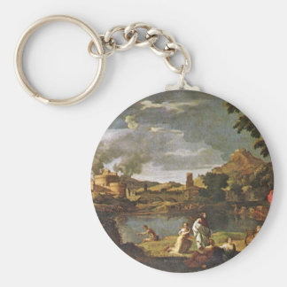 Orpheus And Eurydice By Poussin Nicolas Keychain