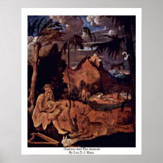 Orpheus And The Animals By Leu D. J. Hans Print