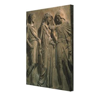 Orpheus, Eurydice and Hermes (marble) Canvas Print