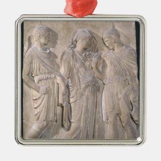Orpheus, Eurydice and Hermes Square Metal Christmas Ornament