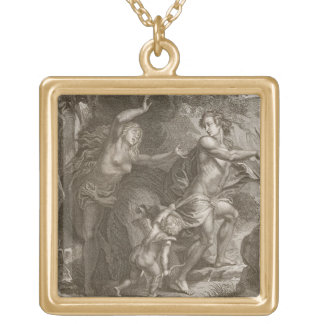 Orpheus, Leading Eurydice Out of Hell, Looks Back Gold Plated Necklace