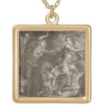 Orpheus, Leading Eurydice Out of Hell, Looks Back Square Pendant Necklace