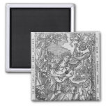 Orpheus Playing Music 2 Inch Square Magnet