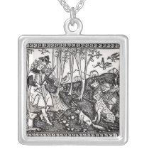 Orpheus Playing to the Animals, 1500 Silver Plated Necklace