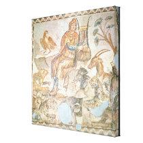 Orpheus playing to the animals, Roman mosaic Canvas Print