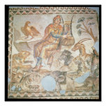 Orpheus playing to the animals, Roman mosaic Poster