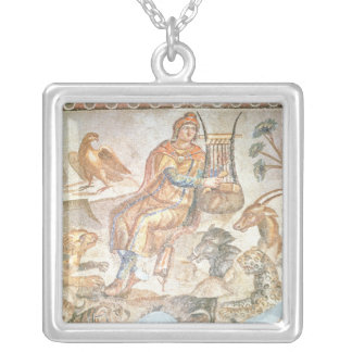 Orpheus playing to the animals, Roman mosaic Square Pendant Necklace