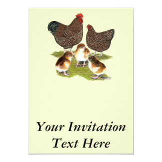 Orpington Jubilee Chicken Family 5x7 Paper Invitation Card