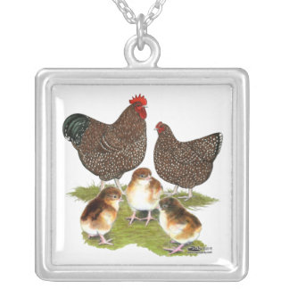 Orpington Jubilee Chicken Family Square Pendant Necklace