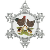 Orpington Jubilee Chicken Family Snowflake Pewter Christmas Ornament