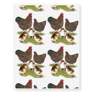 Orpington Jubilee Chicken Family Temporary Tattoos