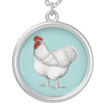 Orpington White Rooster Silver Plated Necklace