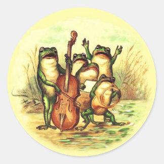 Orquesta de la banda de los músicos de la rana con pegatina redonda