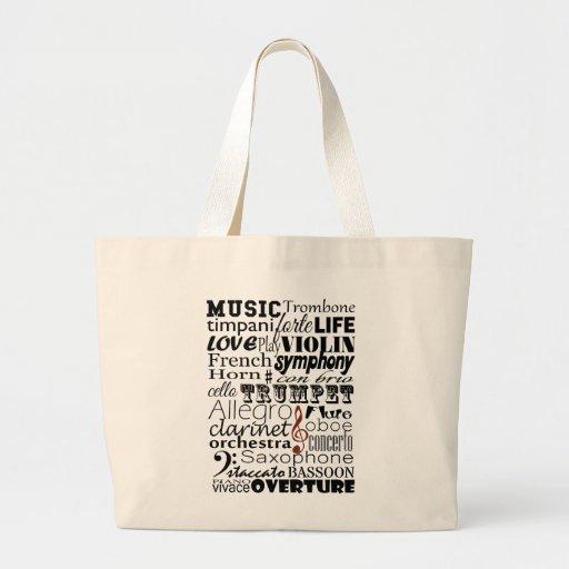 Orquesta de la música bolsa tela grande