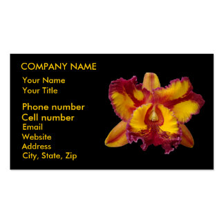 Orquídea amarilla y roja tarjetas de visita