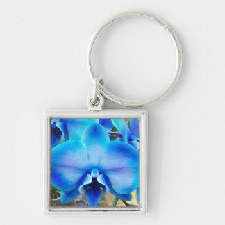 Orquídea azul llavero cuadrado plateado