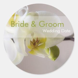 Orquídea blanca • Ahorre al pegatina de la fecha