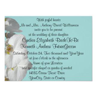 """Orquídea blanca en azul de la joya invitación 6.5"""" x 8.75"""""""