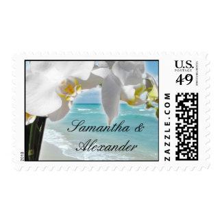 Orquídea blanca, franqueo de la playa de la sellos postales
