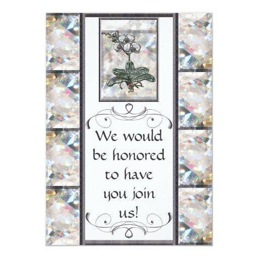 """Orquídea blanca invitación 5"""" x 7"""""""