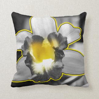 Orquídea blanca negra amarilla gris cojín