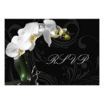 Orquídea blanco y negro dramática que hace juego R Comunicado Personalizado