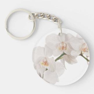 Orquídea de polilla blanca llavero redondo acrílico a una cara