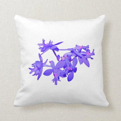Orquídea de tierra teñida azul de las flores cojin