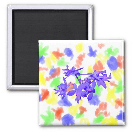 Orquídea de tierra teñida azul de las flores imán para frigorifico