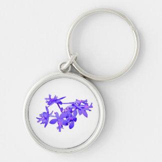 Orquídea de tierra teñida azul de las flores llavero redondo plateado