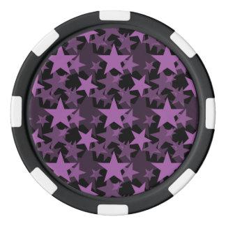 Orquídea del radiante de las estrellas 3 juego de fichas de póquer
