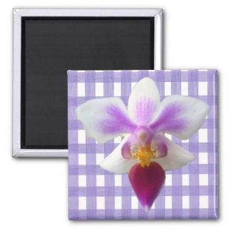 Orquídea en la guinga del cordón de la lavanda imán cuadrado