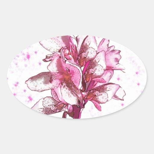 Orquídea en rosa pegatina ovalada