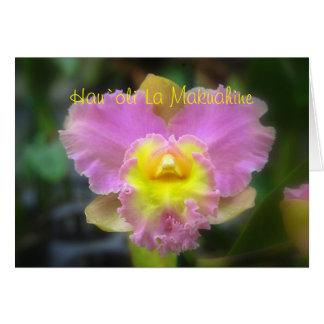 Orquídea feliz hawaiana C de Cattleya del rosa del Tarjeta De Felicitación