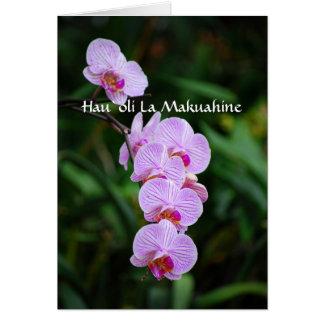 Orquídea feliz hawaiana del Phalaenopsis del día Tarjeta De Felicitación