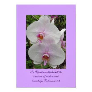 """Orquídea - flor rosado (Colossians 2: 3) Invitación 5"""" X 7"""""""