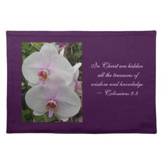 Orquídea - flor rosado (Colossians 2: 3) Manteles