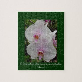 Orquídea - flor rosado (Colossians 2: 3) Rompecabezas