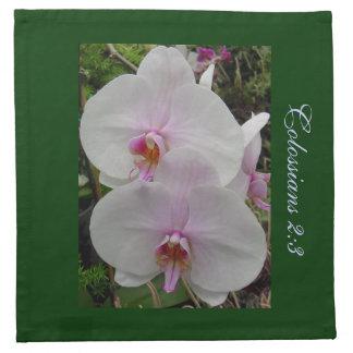 Orquídea - flor rosado (Colossians 2: 3) Servilleta Imprimida