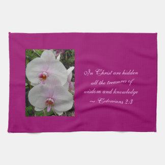 Orquídea - flor rosado (Colossians 2: 3) Toalla