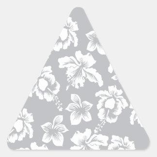 Orquídea hawaiana blanca pegatina triangular