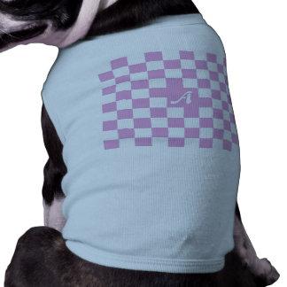 Orquídea ligera y monograma a cuadros blanco camiseta sin mangas para perro