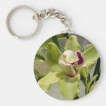 Orquídea marrón verde llaveros personalizados