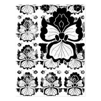 orquídea-negro-y-blanco-tarjeta postal
