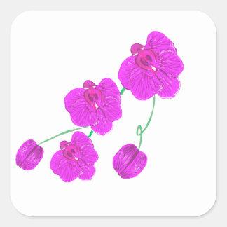 Orquídea púrpura pegatina cuadrada