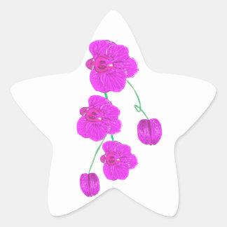 Orquídea púrpura pegatina en forma de estrella