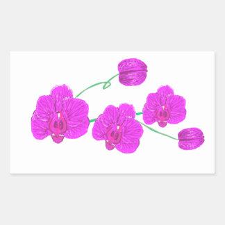 Orquídea púrpura pegatina rectangular