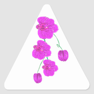 Orquídea púrpura pegatina triangular