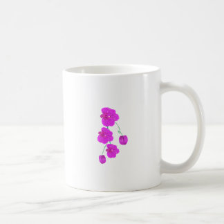 Orquídea púrpura taza básica blanca