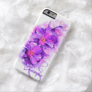 Orquídea radiante nombrada arte púrpura caso funda de iPhone 6 barely there